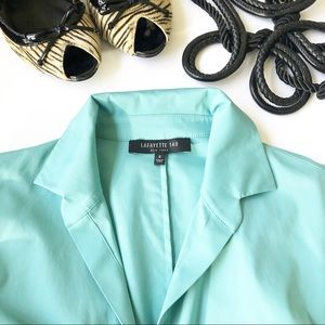 Lafayette 148 New York Blue 3/4 Roused Blouse
